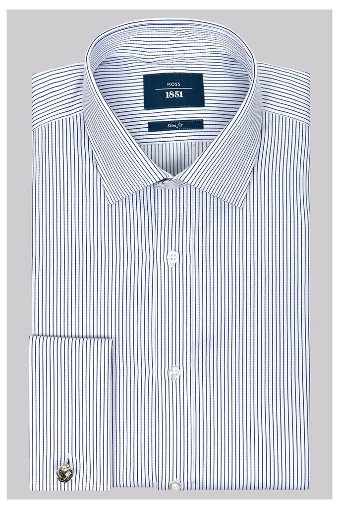 Moss 1851 Slim Fit Navy and White Double Cuff Textured Stripe Shirt