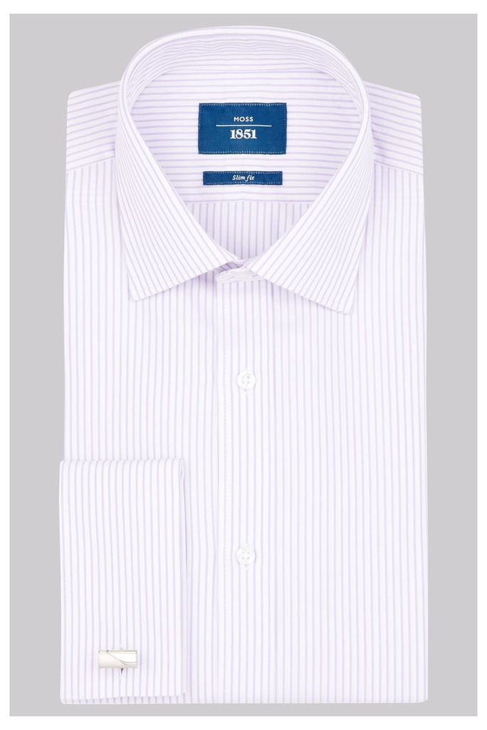 Moss 1851 Slim Fit Lilac Double Cuff Stripe Shirt