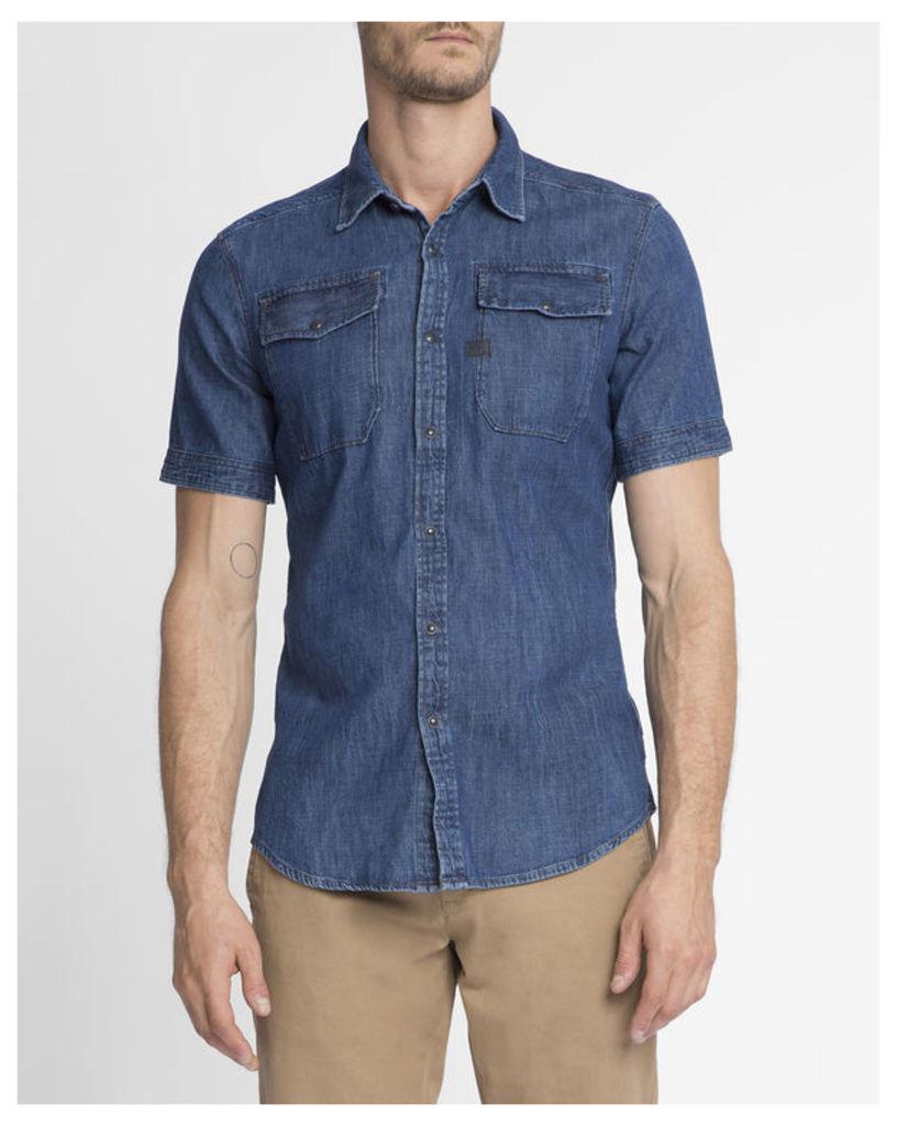 Blue Western Pocket Slim-Fit Landoh MC Shirt
