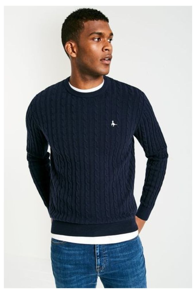 MARLOW CABLE CREW NECK JUMPER NAVY