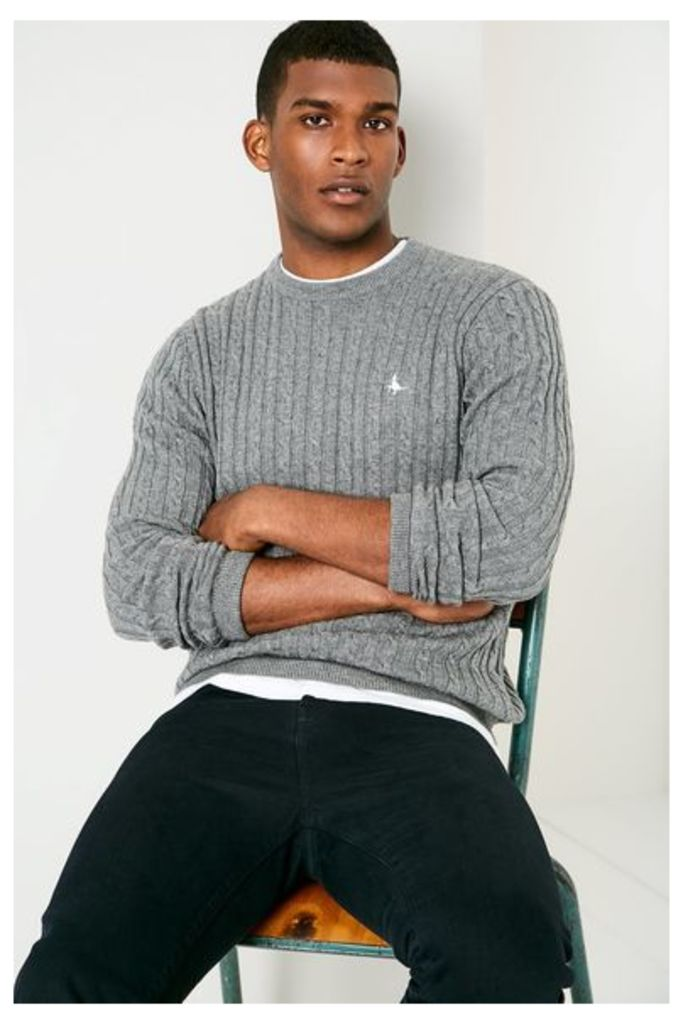 MARLOW CABLE CREW NECK JUMPER GREY