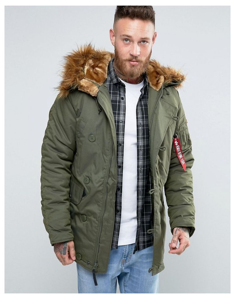 Alpha Industries Explorer Parka With Faux Fur Trim In Regular Fit Dark Green - Gr1 - green 1