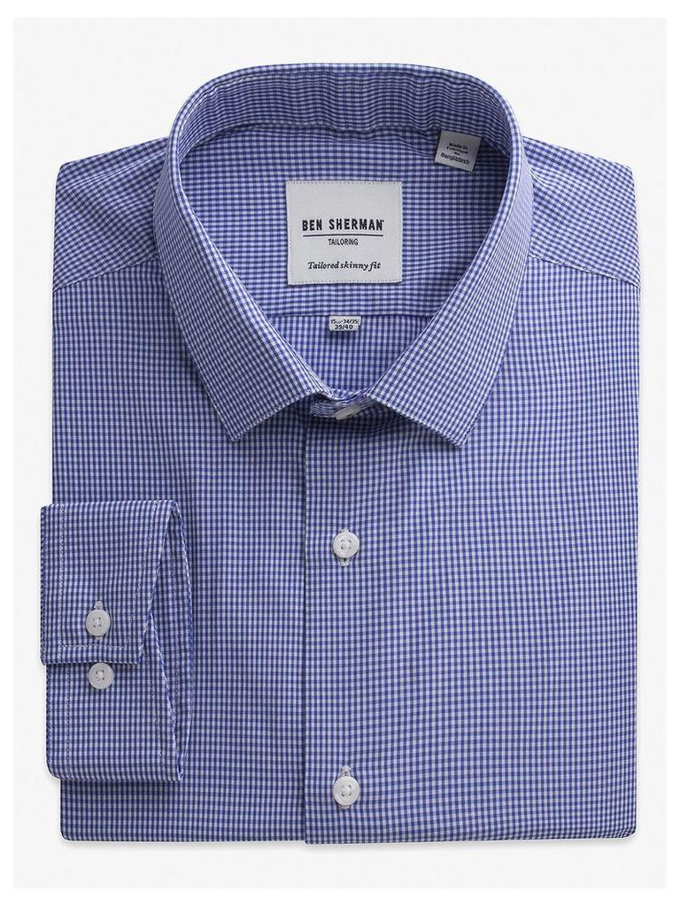 Mini Gingham Skinny Fit Shirt 17 Royal Blue