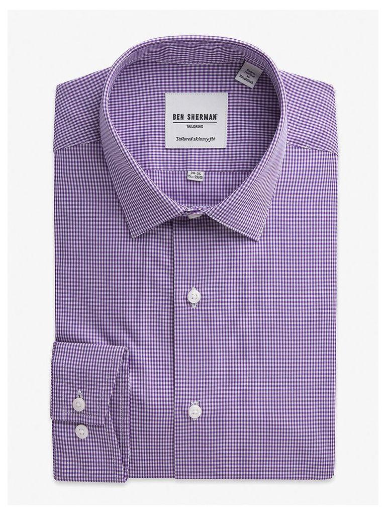 Mini Gingham Skinny Fit Shirt 18.5 Wineberry