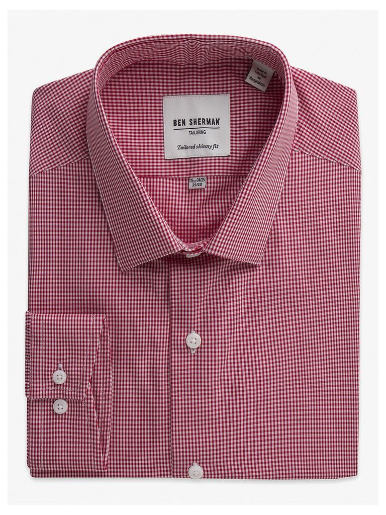 Mini Gingham Skinny Fit Shirt 18.5 Letterbox Red