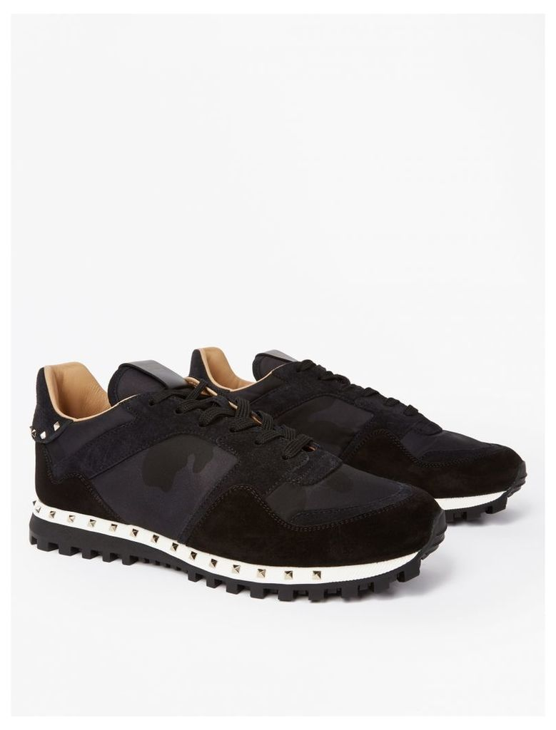 Black Suede Studded Sole Sneakers
