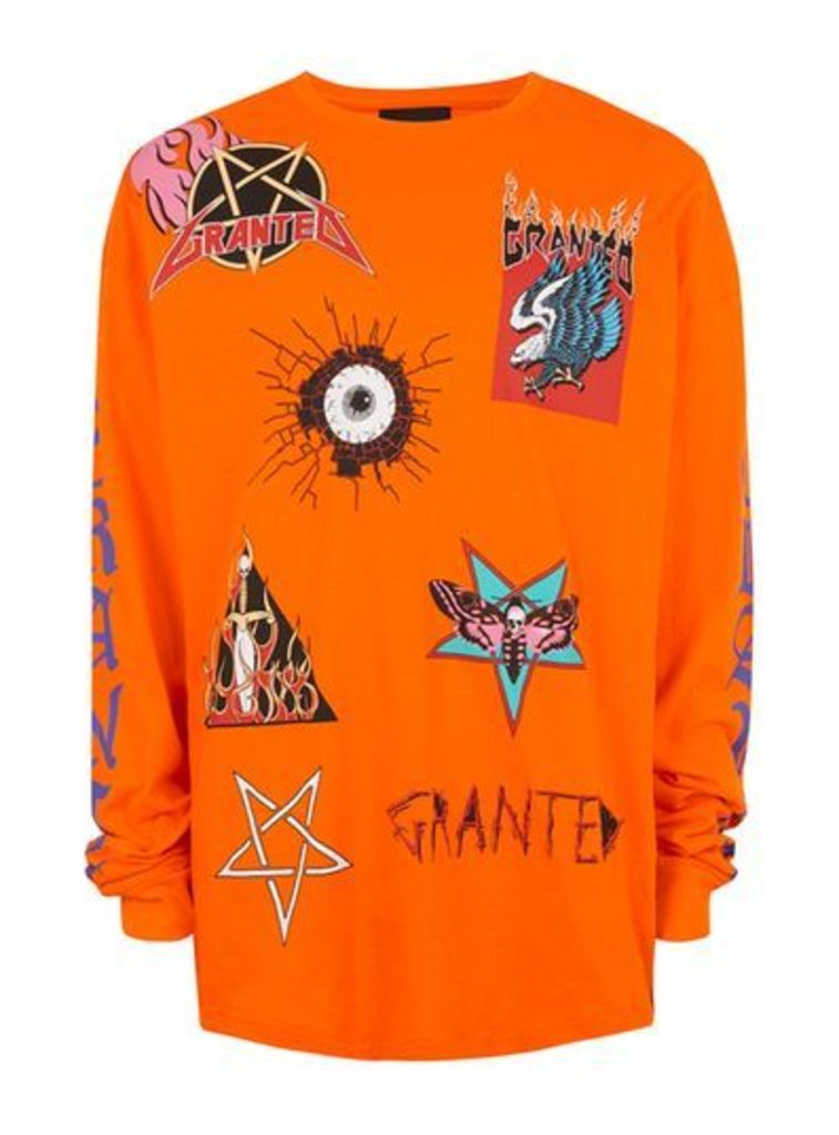 Mens GRANTED Orange Random Print Long Sleeve T-Shirt*, Orange