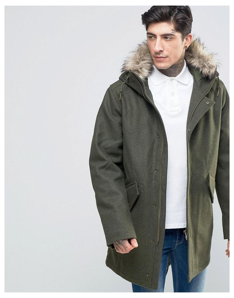 Fred Perry Parka In Wool With Faux Fur Trim In Thorn - Thorn