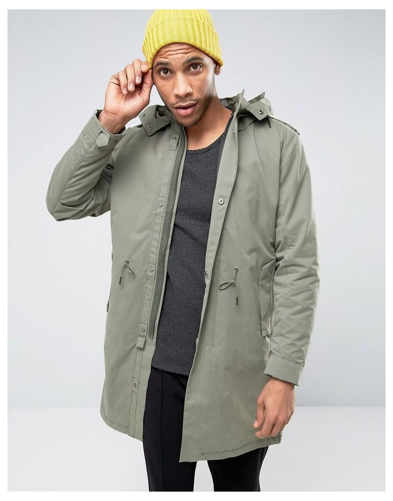 Selected Homme Premium Parka with Removable Bomber Jacket - Castor grey