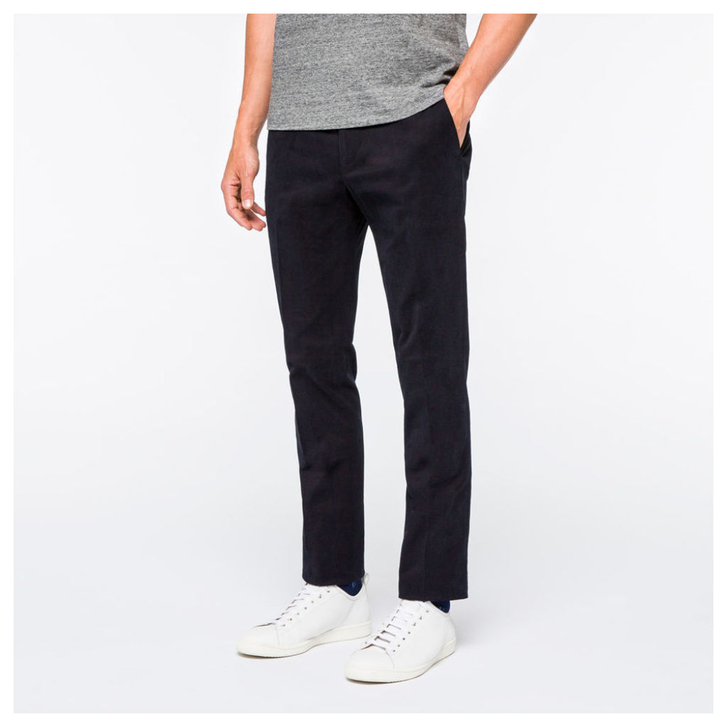 Men's Slim-Fit Dark Navy Brushed-Cotton Chinos