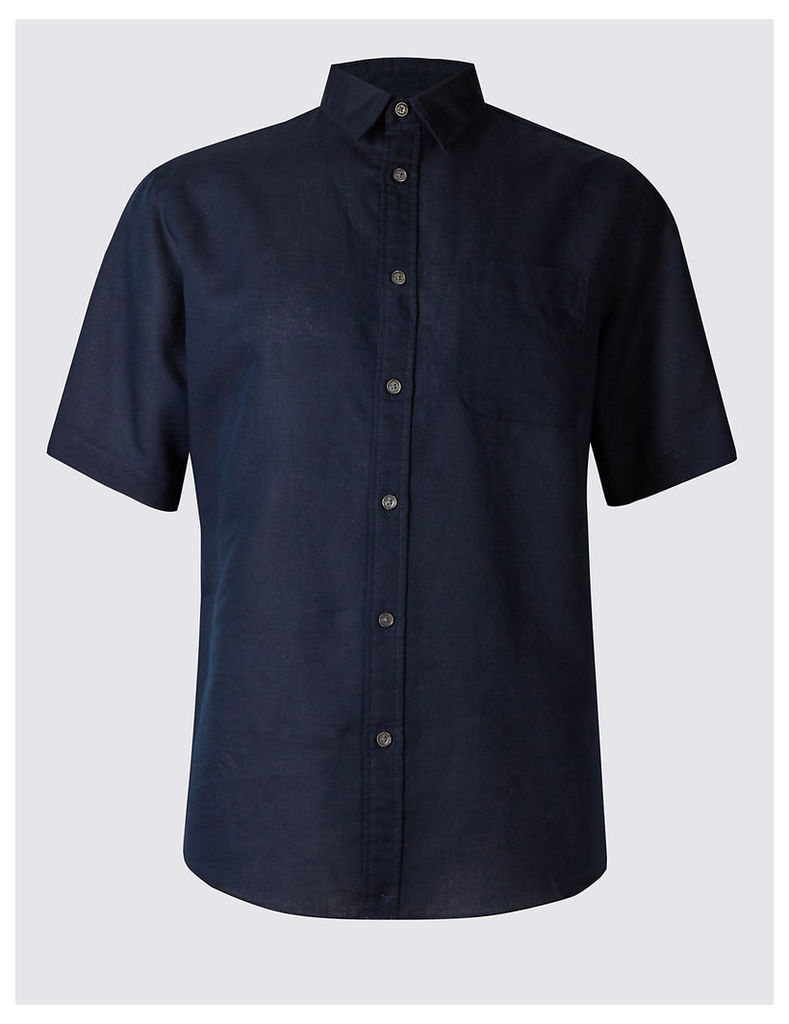 M&S Collection Cotton Blend Shirt with Pocket
