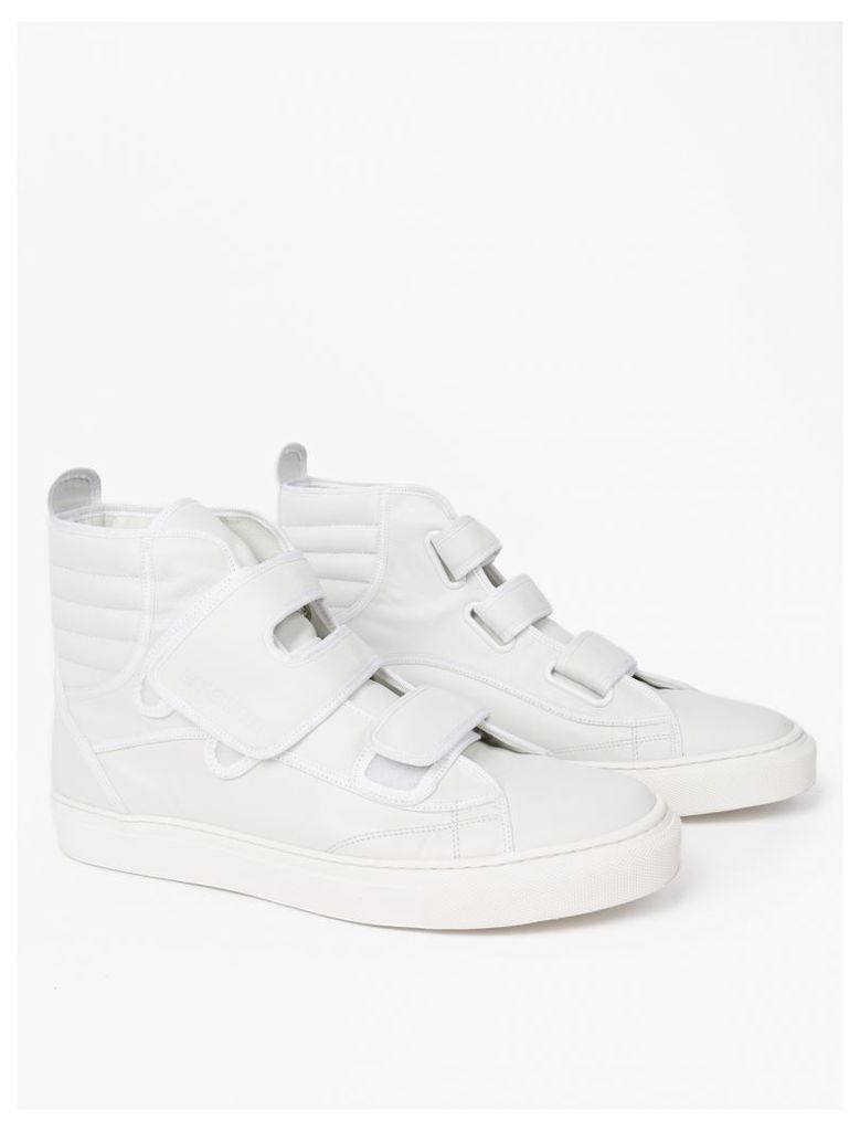 White Leather Hi-Top Sneakers
