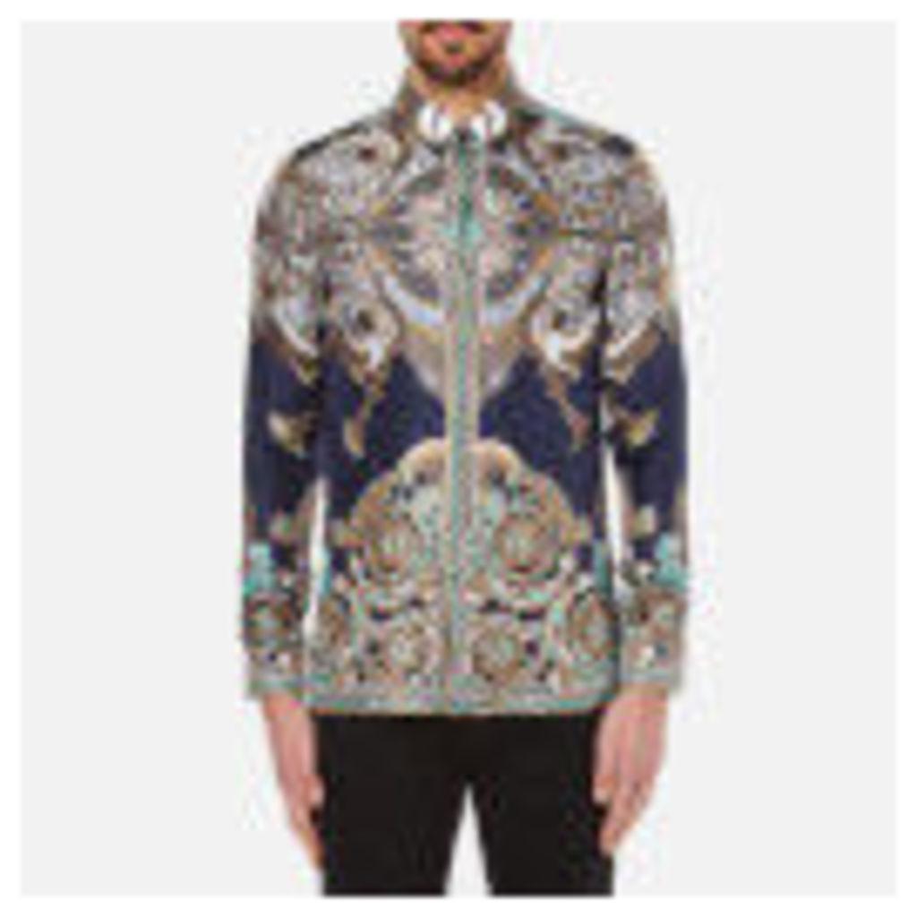 Versace Collection Men's Printed Silk Shirt - Navy