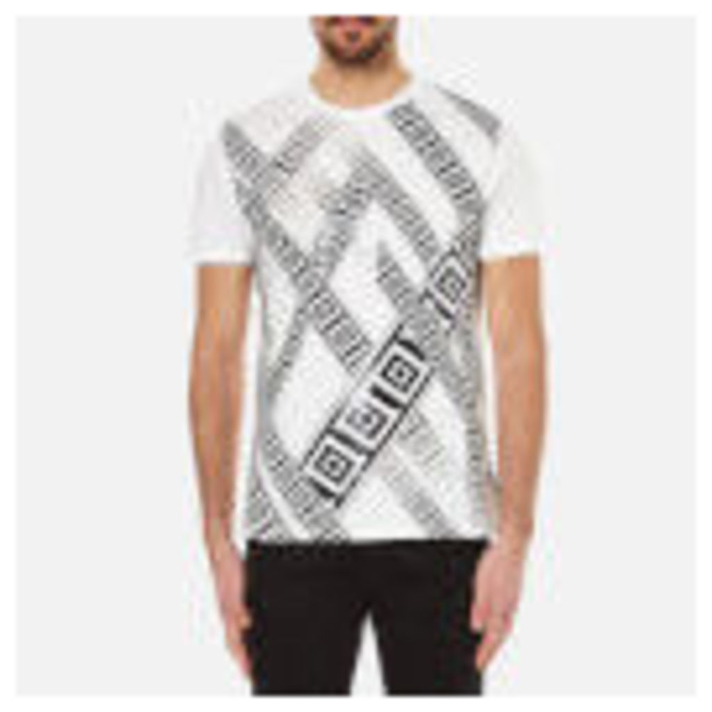 Versace Collection Men's Greek Patterned Embossed T-Shirt - White