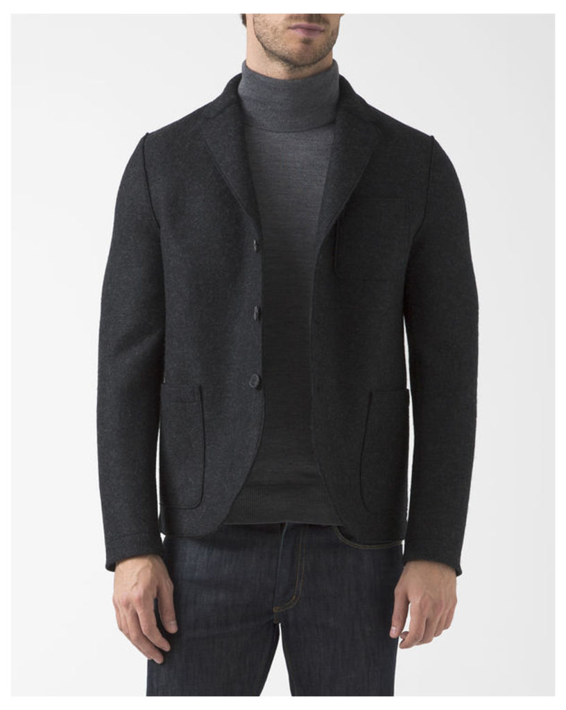 Flecked Anthracite Boiled Wool Unstructured Boxy Jacket