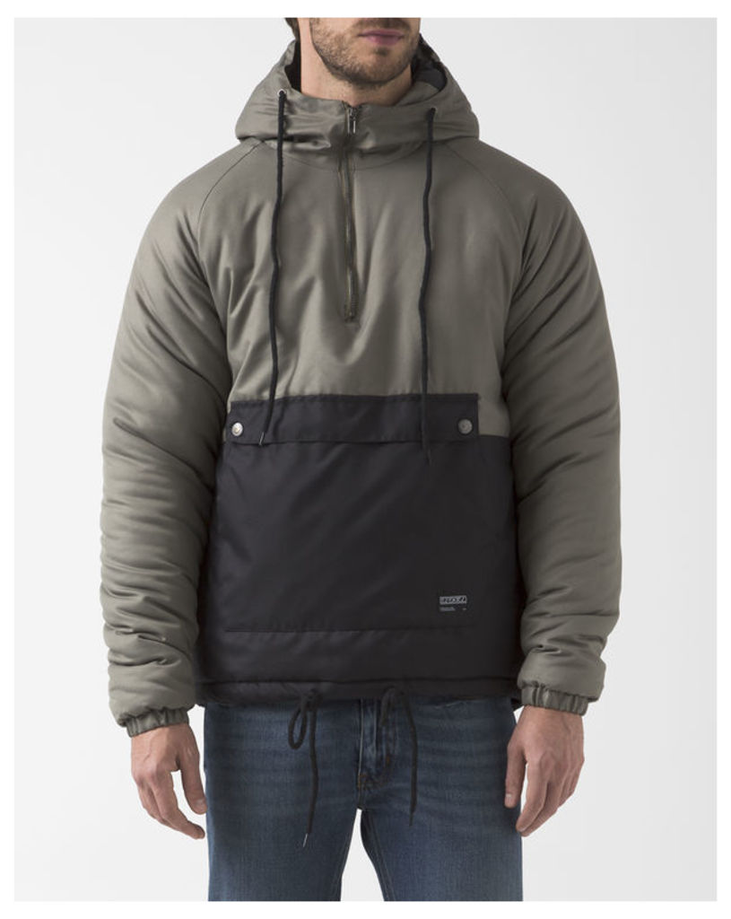 Khaki and Black Two-Colour Trenton Windbreaker with Hood