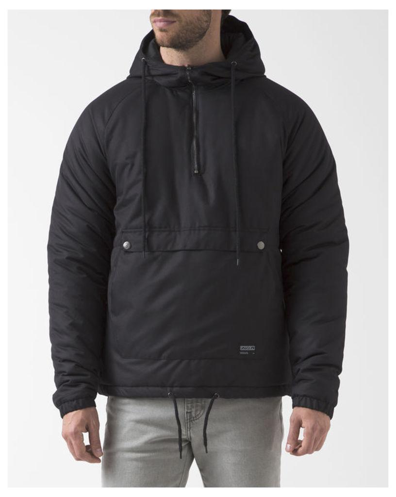 Black Two-Colour Trenton Windbreaker with Hood