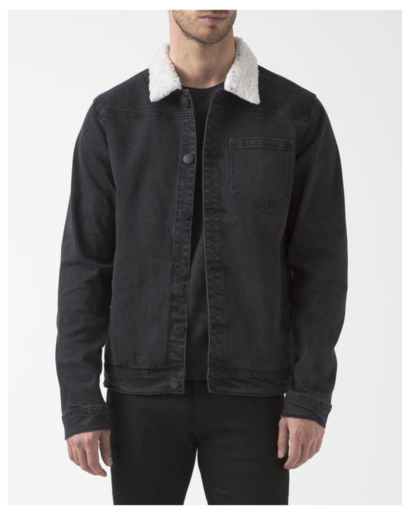 Black Denim Arrowhead Jacket with Sherpa Collar