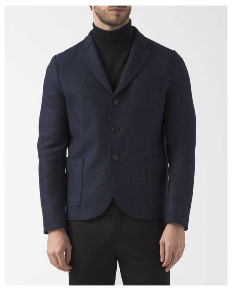 Stranded Blue Boiled Wool Unstructured Boxy Jacket
