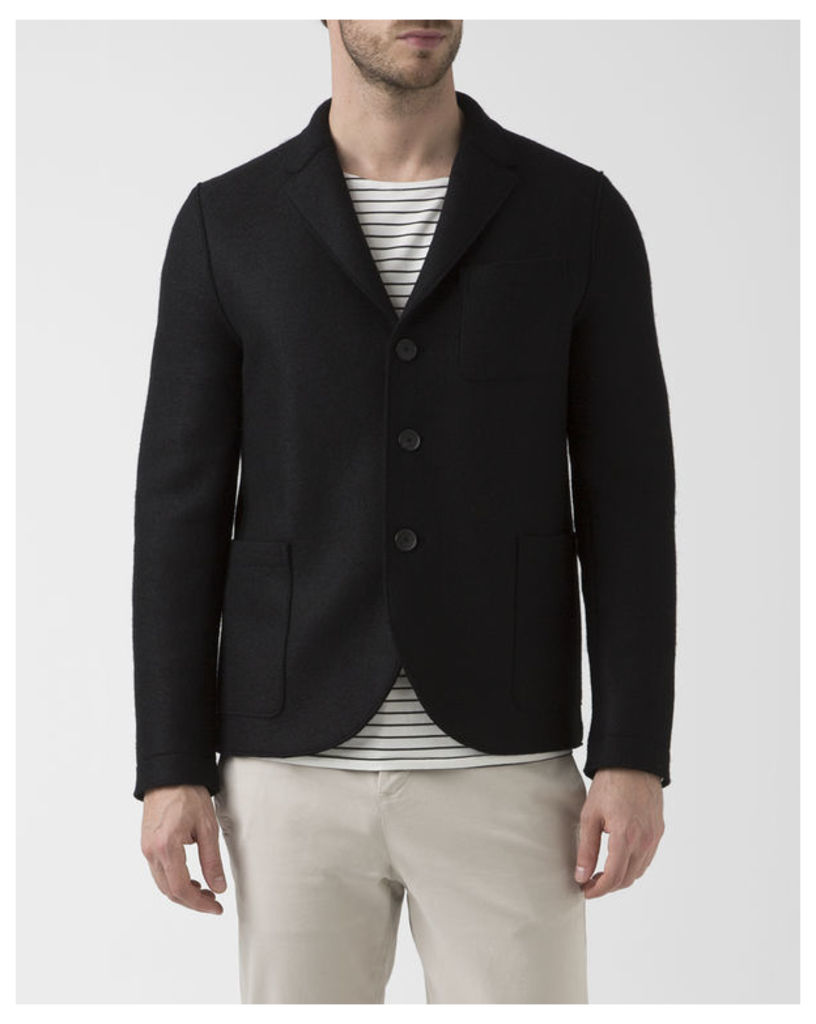 Black Boiled Wool Unstructured Boxy Jacket