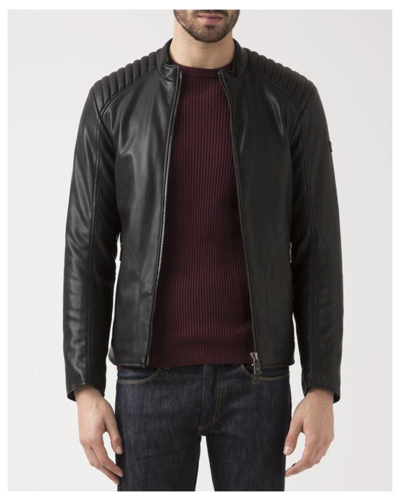 Black Eco Leather Jacket with Biker Collar