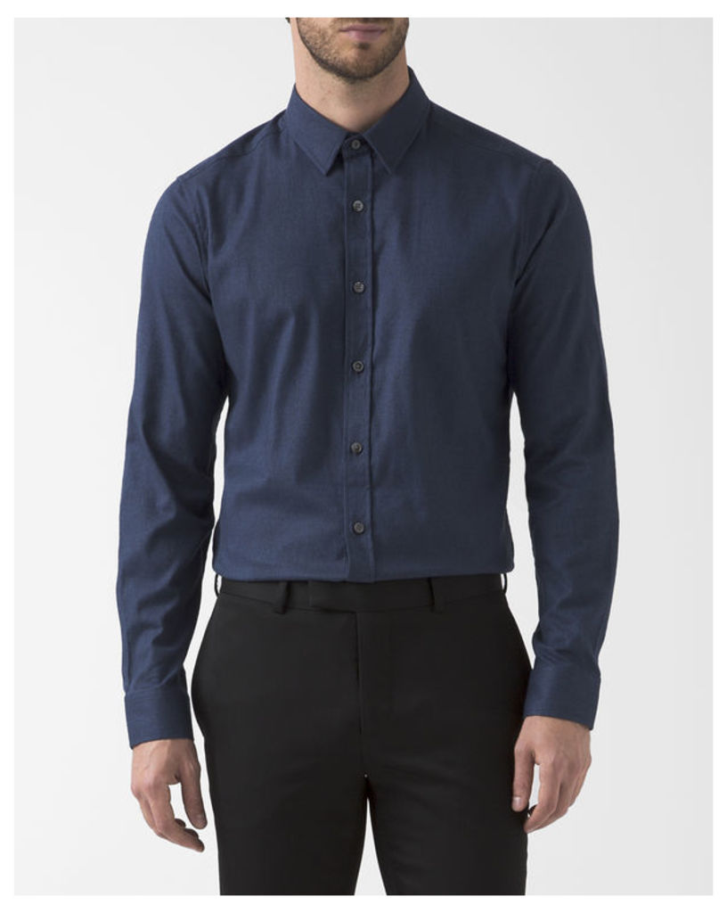 Navy Blue Stretch Flannel Zack Shirt with Small Collar