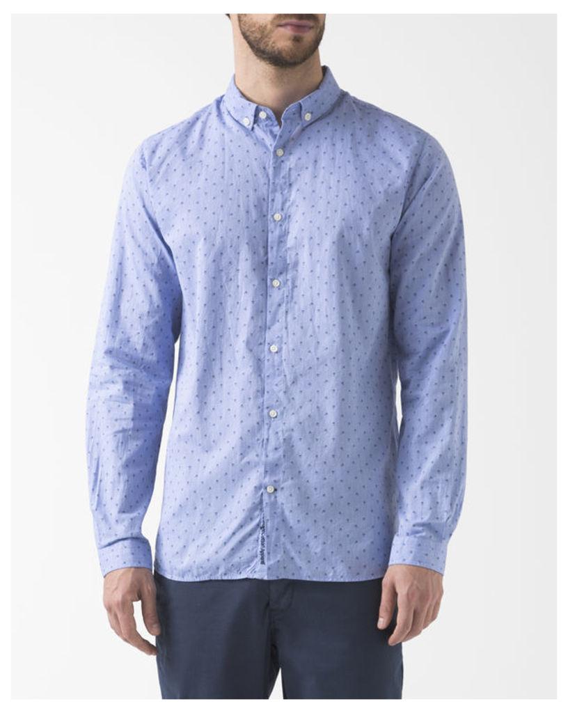 Sky Blue Poplin Embroidered Owl Shirt