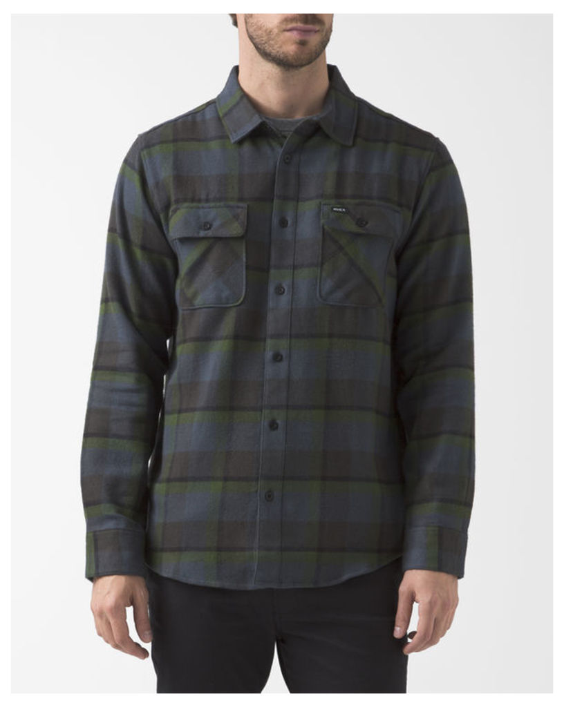 Navy Blue Checked Telltale Shirt with Chest Pockets
