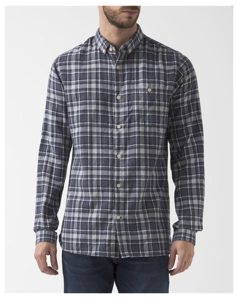 Grey Blue Checked Flannel Shirt
