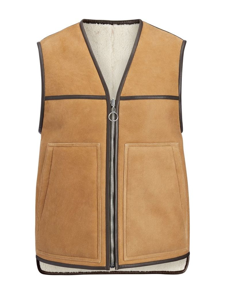 Suede Sheepskin Reversible Lincoln Gilet in Cognac