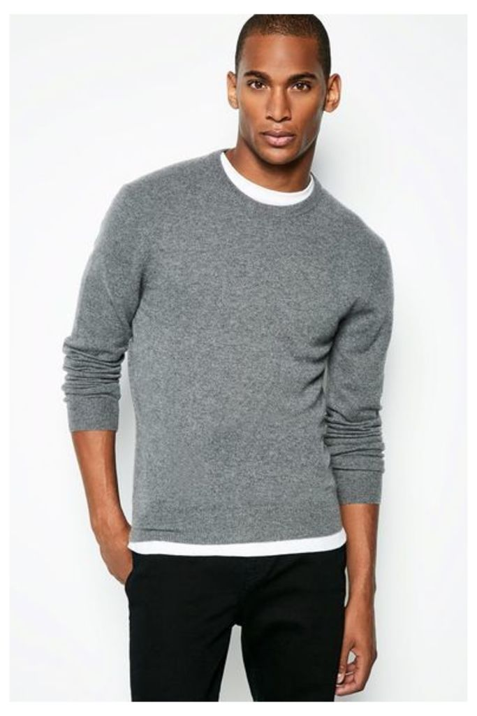 HOLNE CASHMERE CREW NECK JUMPER CHARCOAL