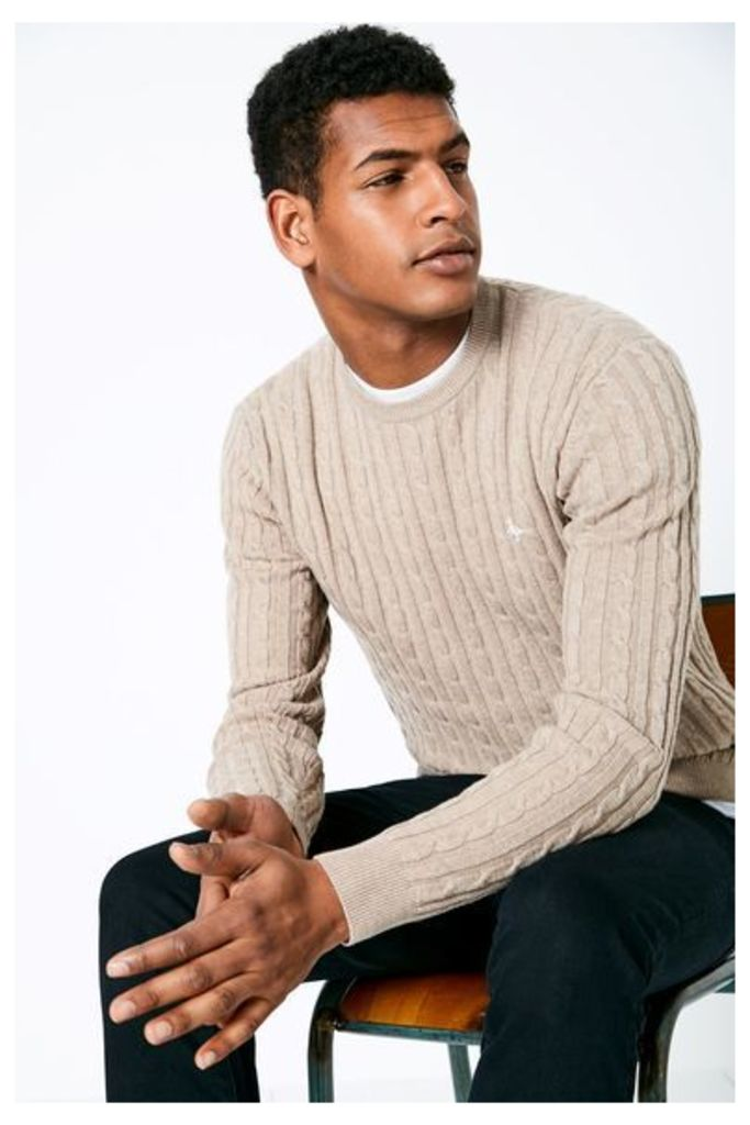 MARLOW CABLE CREW NECK JUMPER SAND
