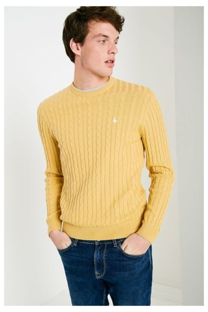 MARLOW CABLE CREW NECK JUMPER HONEY
