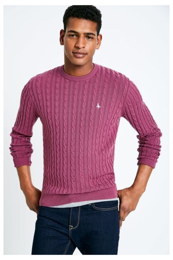 MARLOW CABLE CREW NECK JUMPER BERRY