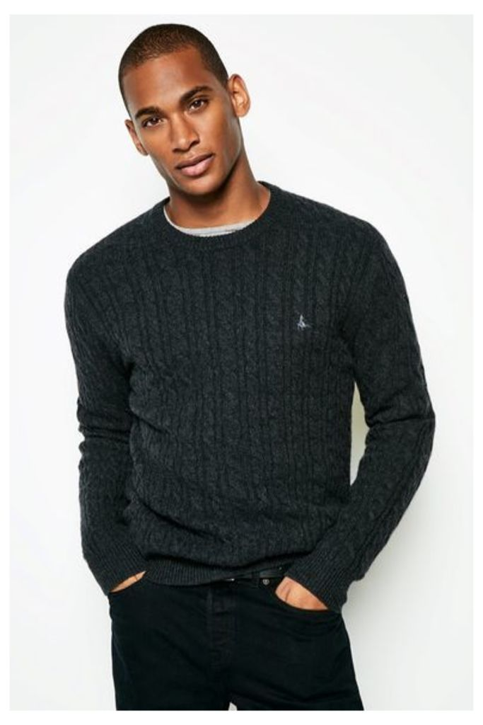 REDMORE CASHMERE CABLE CREW NECK JUMPER CHARCOAL