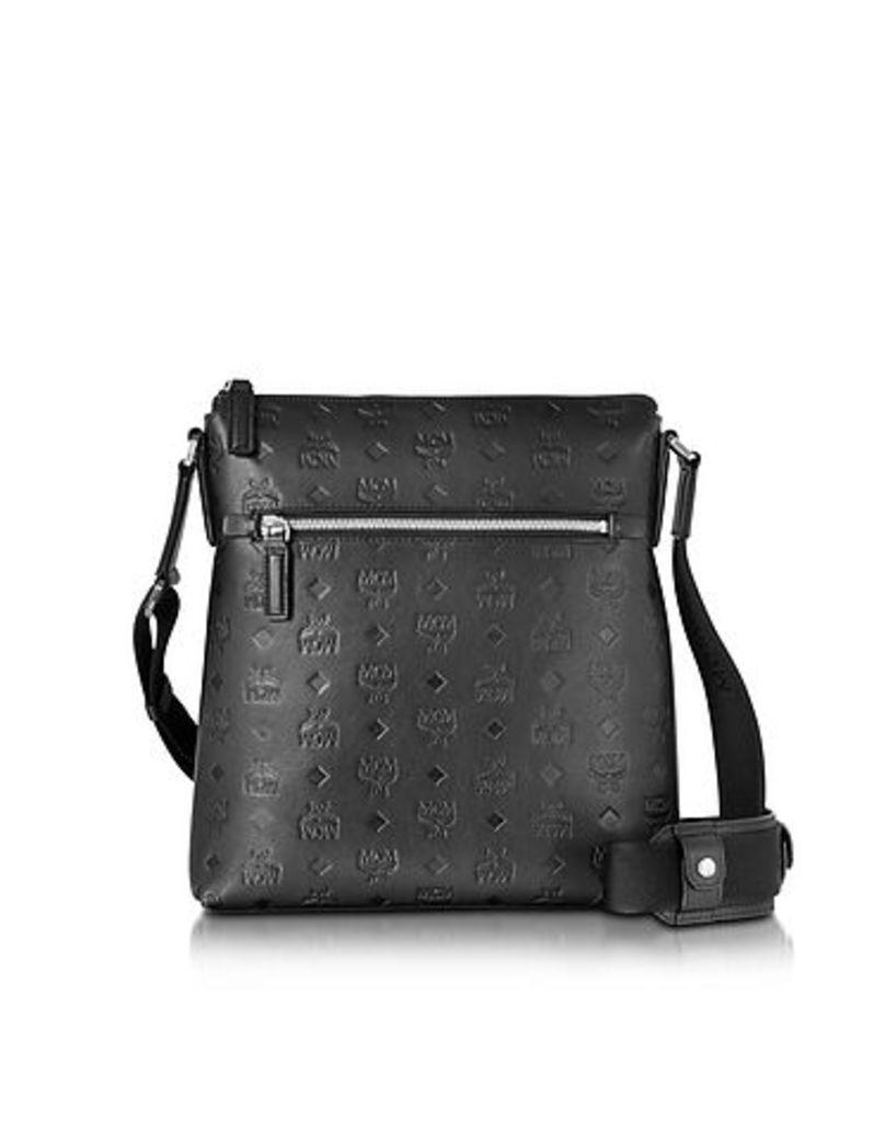 MCM - Otto Black Monogram Leather Small Messenger Bag