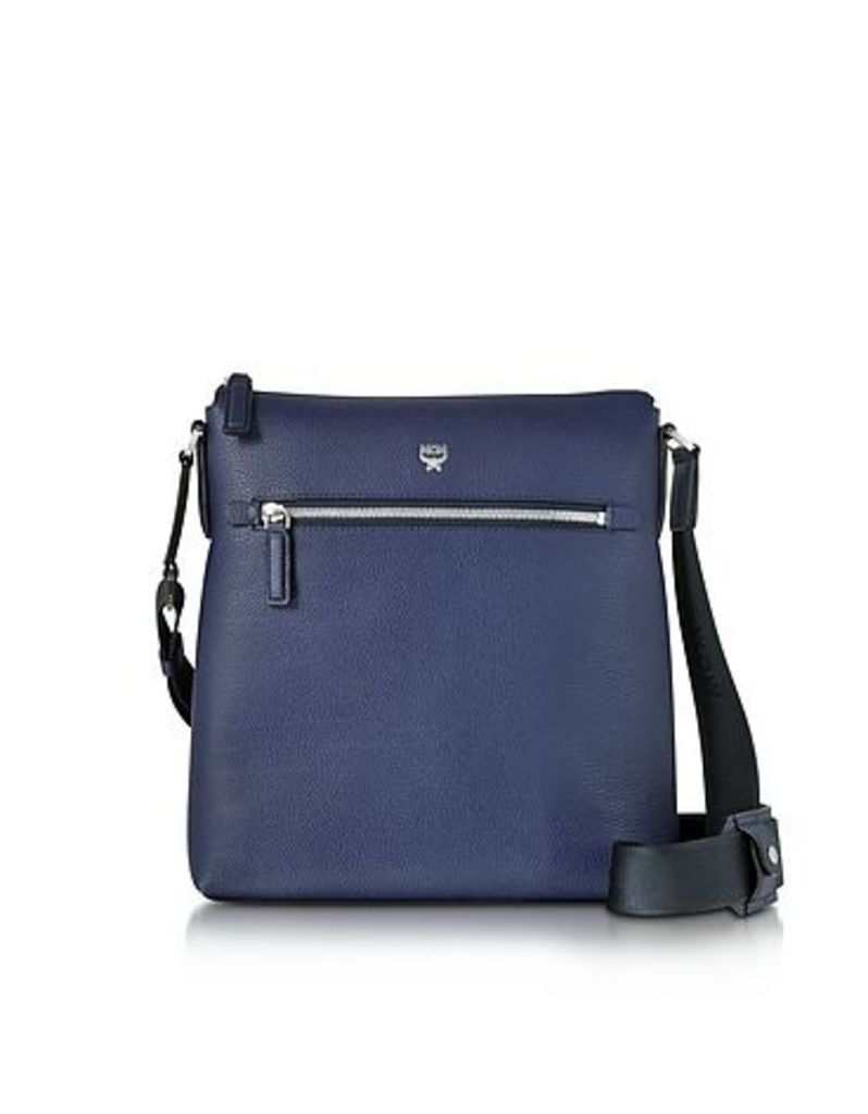 MCM - Otto Pistol Blue Grain Leather Small Messenger Bag