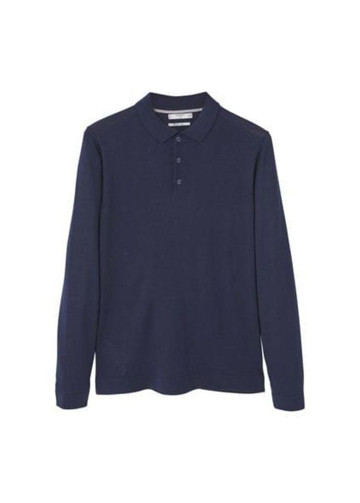 Long sleeves wool polo