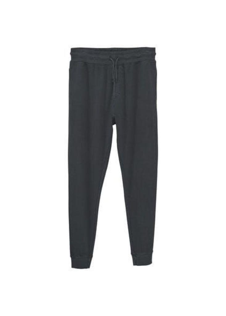 Plush-cotton jogging trousers