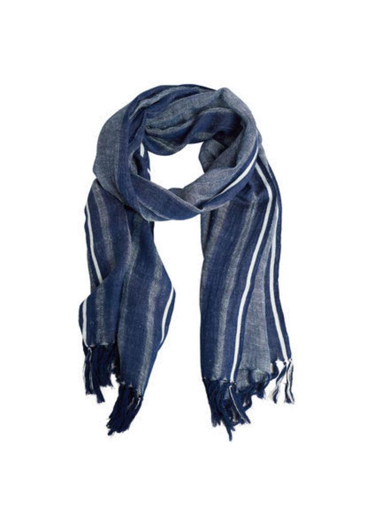 Striped linen-blend scarf