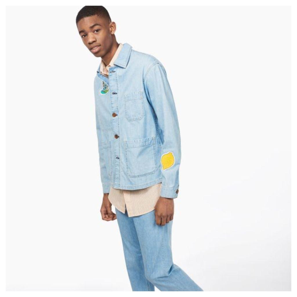 Embroidered Denim Shirt Jacket - Semi Light Blue