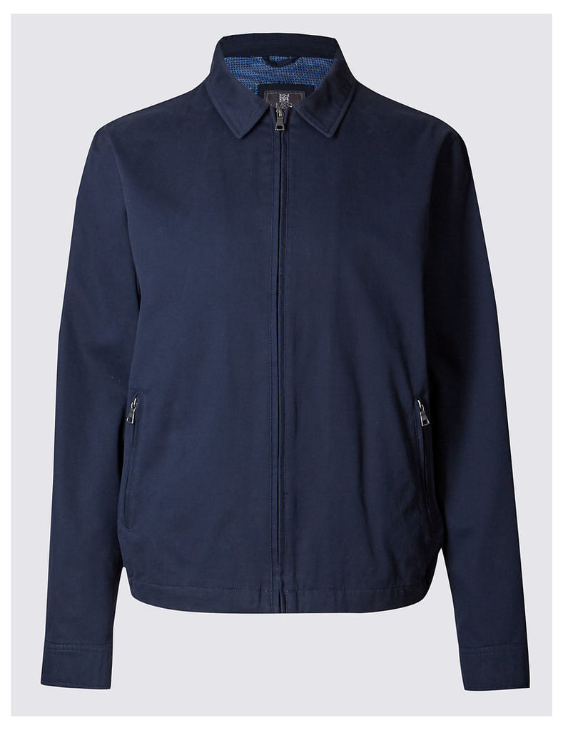 M&S Collection Pure Cotton Bomber Jacket with Stormwear