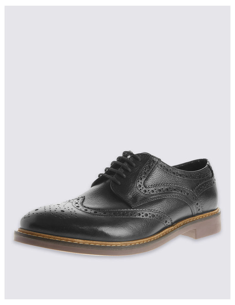 M&S Collection Extra Wide Fit Leather Lace-up Brogue Shoes