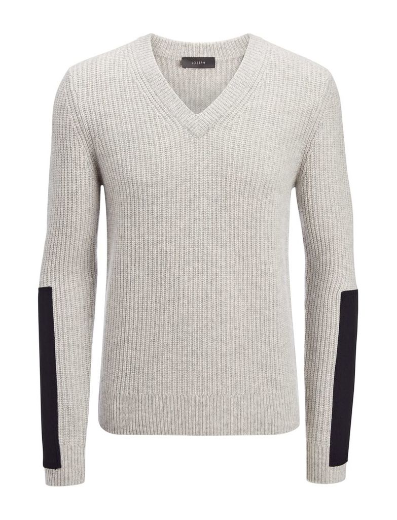 Military Cashmere V Neck Sweater in Grey Chine