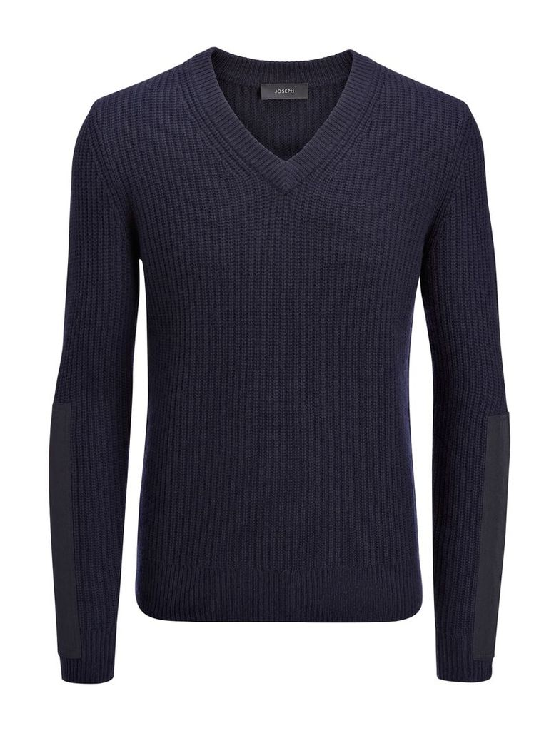 Military Cashmere V Neck Sweater in Navy