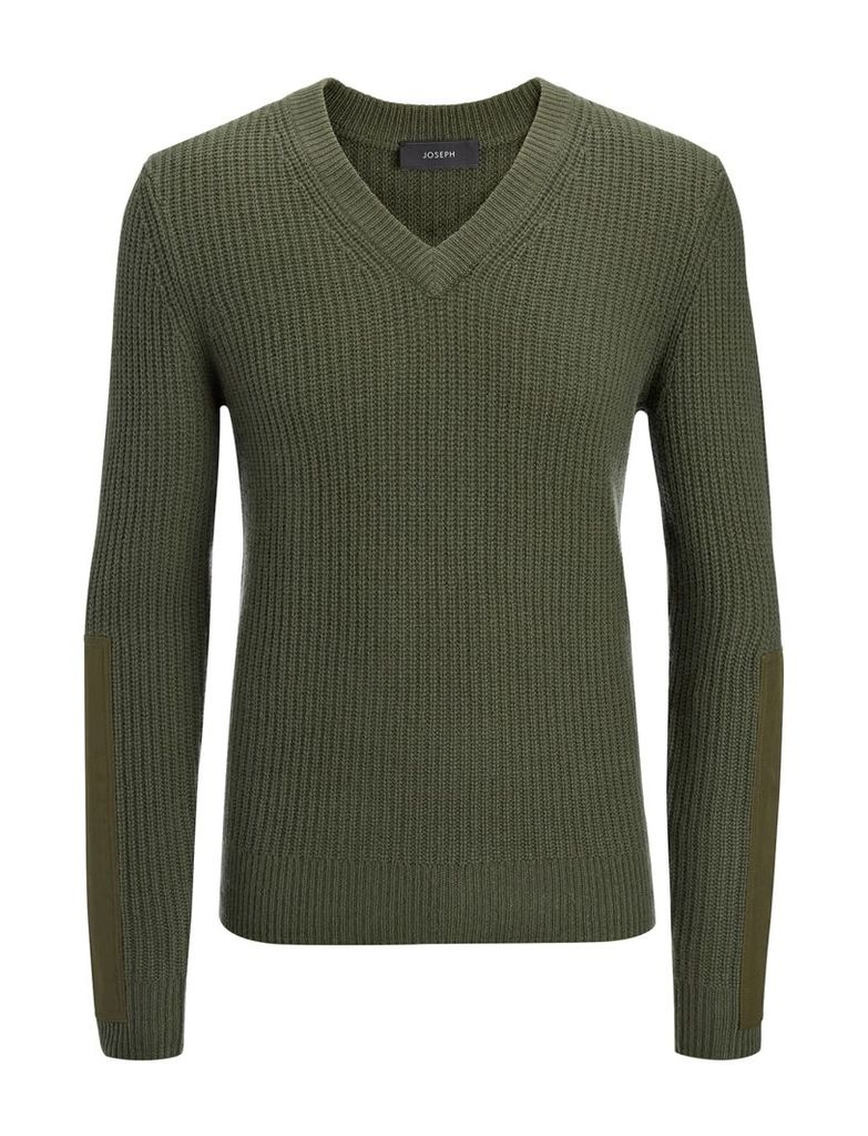 Military Cashmere V Neck Sweater in Khaki