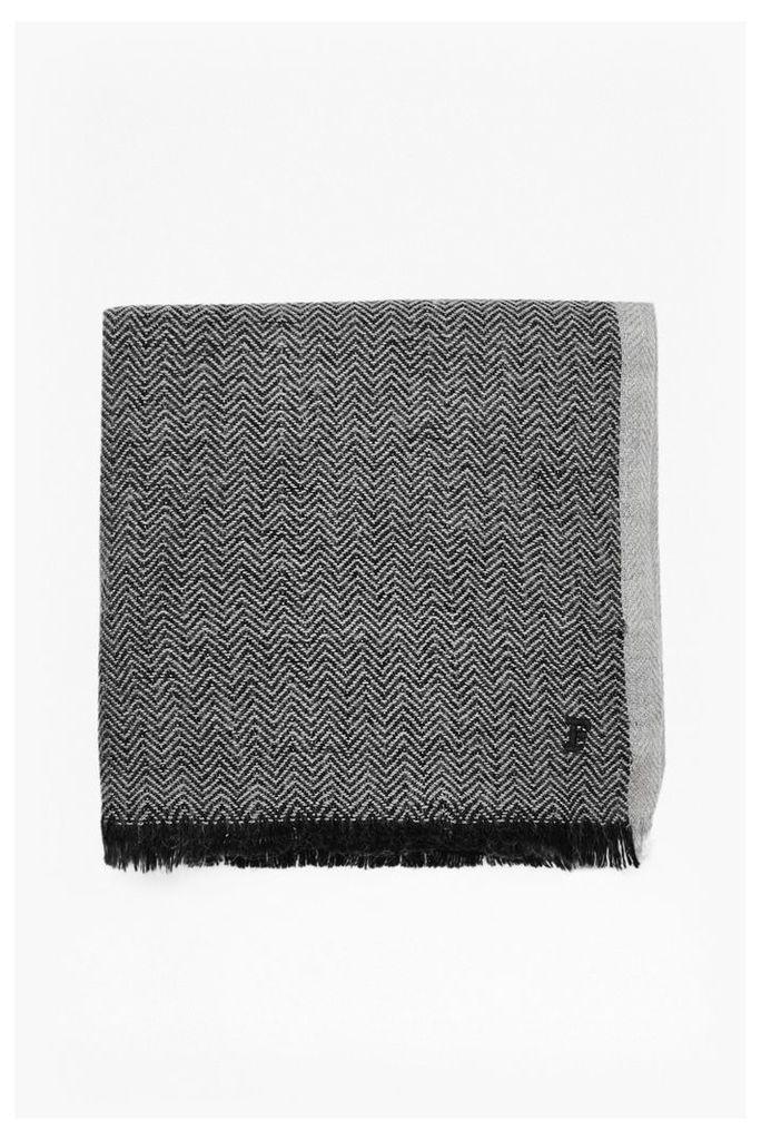 HERRINGBONE SCARF - Black/White