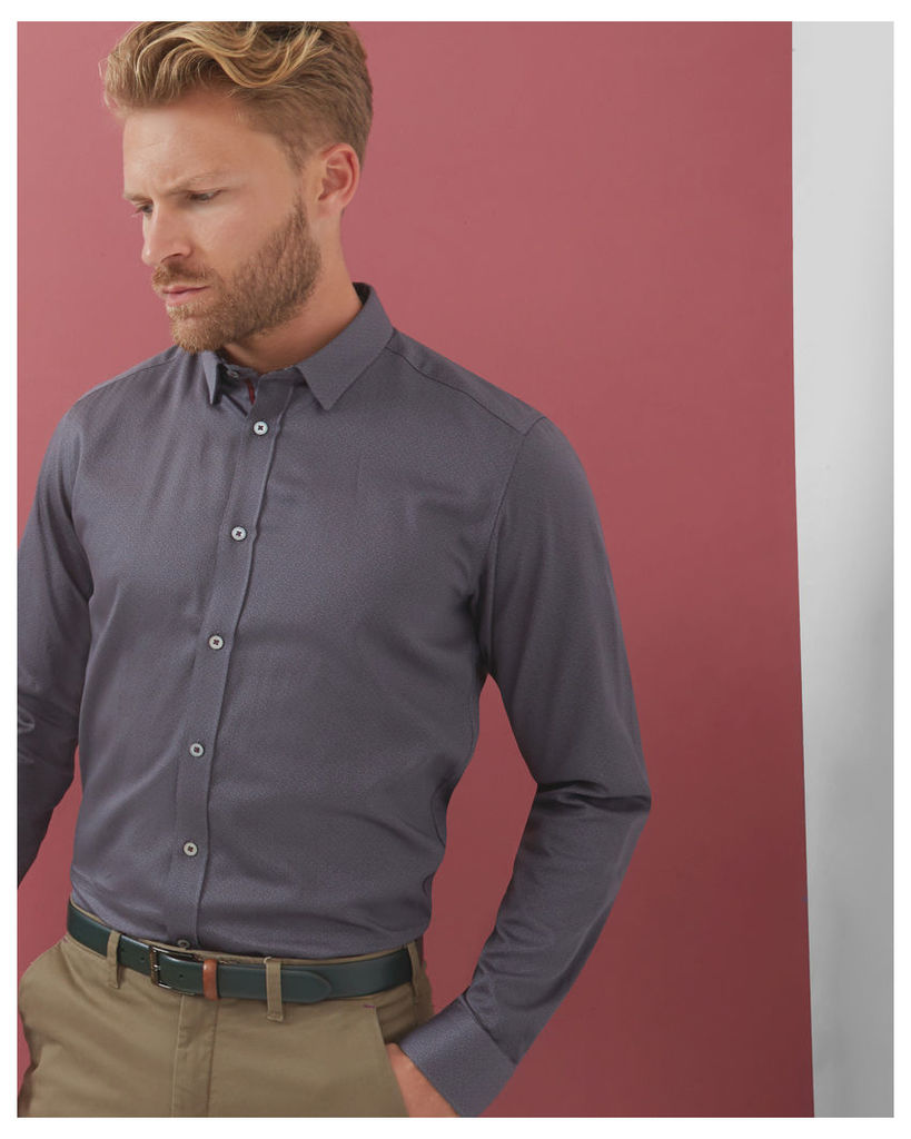 Ted Baker Geo print cotton shirt Charcoal