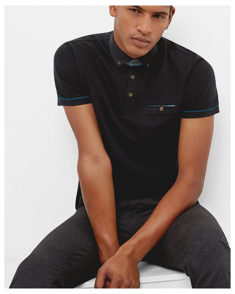 Ted Baker Ribbed cotton polo shirt Black