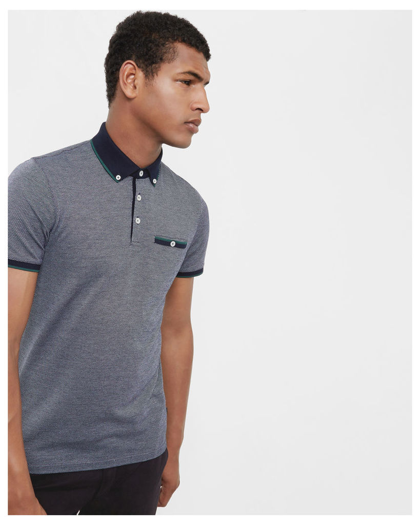 Ted Baker Striped cotton polo Dark Blue